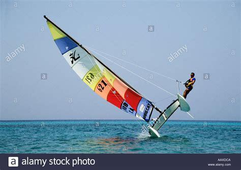 hobie 16 catamaran dimensions sailing a hobie catamaran on one hull stock photo royalty