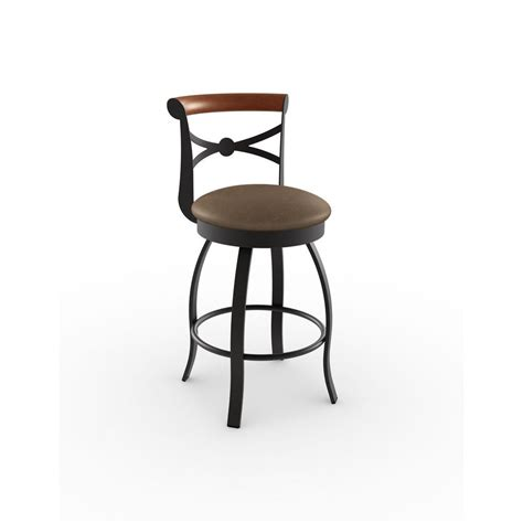 brown wood counter stools amisco perry 26 in textured brown metal beige