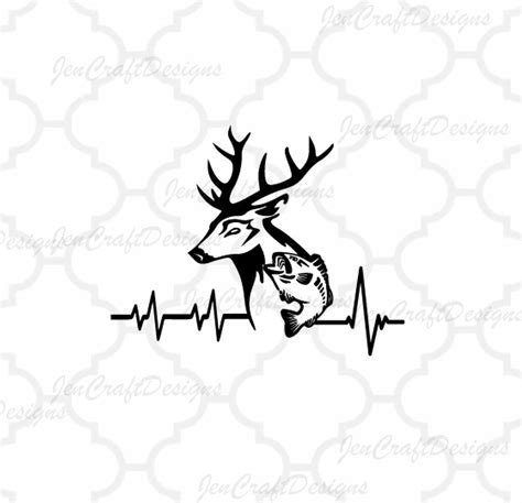 art file deer fish svg cutting file hunting svg heartbeat buck svg