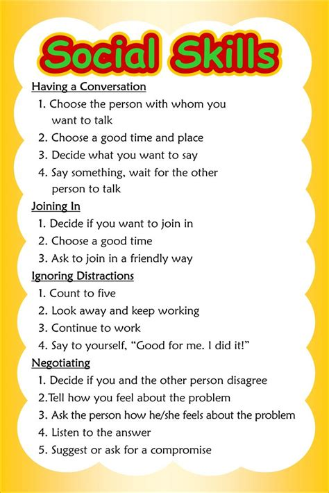social skills poster 3 of 3 conversation autism counselling and school