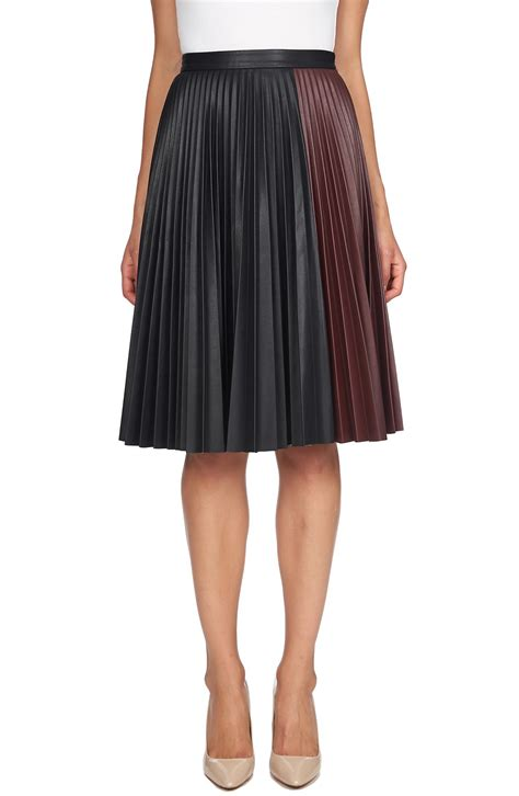 1 state colorblock faux leather pleat skirt nordstrom