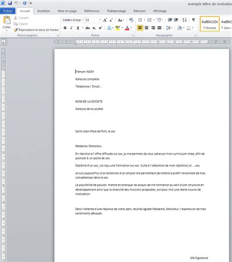 Exemple De Lettre De Motivation En Anglais Word Lettre De Motivation Exemple Word Gratuit