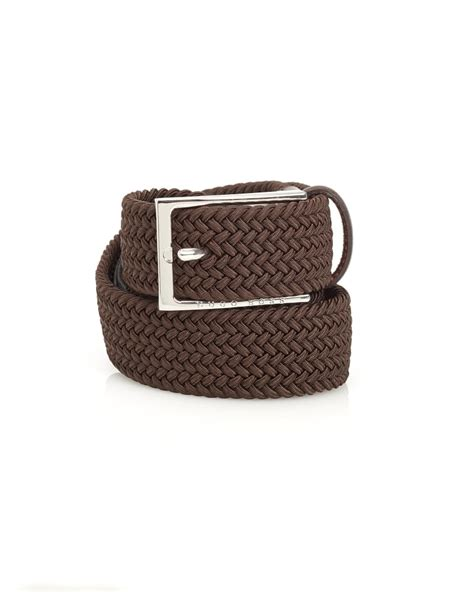 hugo black mens clori woven leather belt brown belt