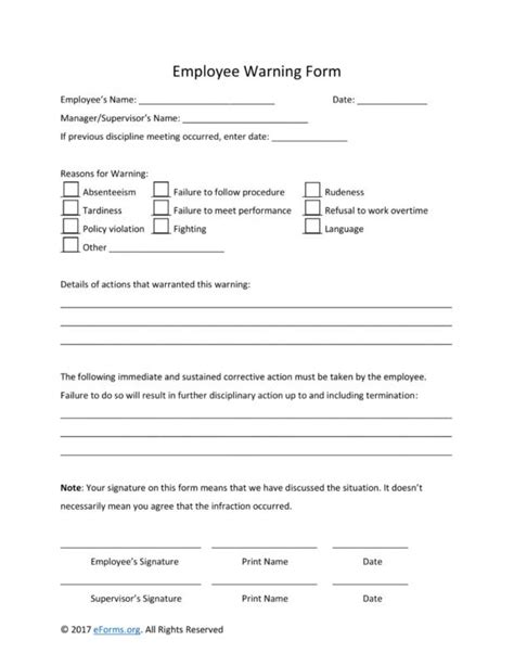 employee warning form employee warning notice beneficialholdings info