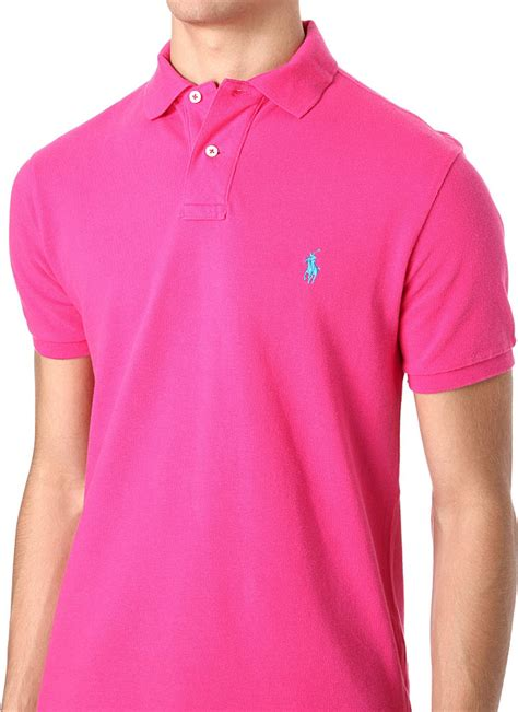 Blouse Qorry Polo Pink lyst ralph slimfit mesh polo shirt in pink for