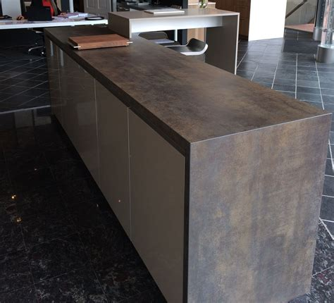 neolith arbeitsplatte island with waterfall in iron moss neolith in the ultimate