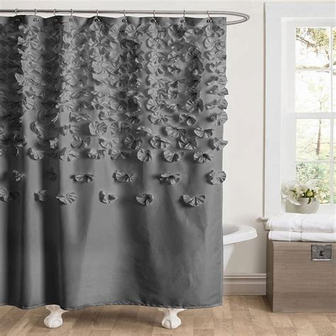grey ruffle shower curtain whimsy girl pretty things ruffle shower curtains