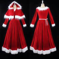 vtg mrs santa claus red velvet full length skirt fur