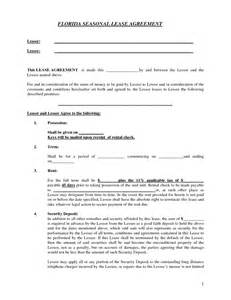 Rental Agreement Template Florida by Lease Agreement Template Florida