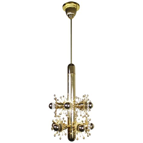 Midcentury Gold Sputnik Style Pendant Light With Mirrored Sputnik Pendant Light