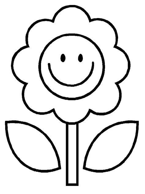 Easy Coloring Pages flower simple coloring page