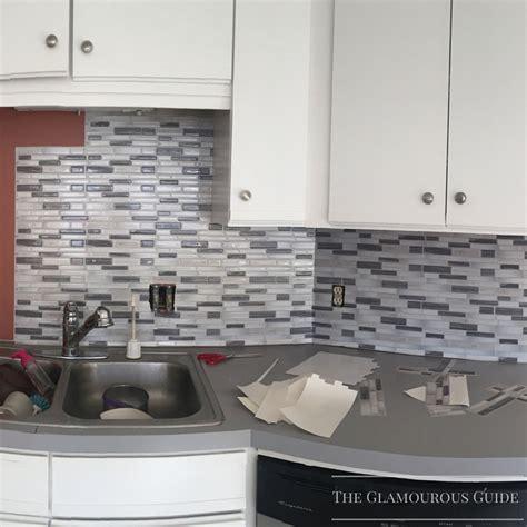 sticky backsplash for kitchen diy kitchen backsplash with sticky tiles the glamourous