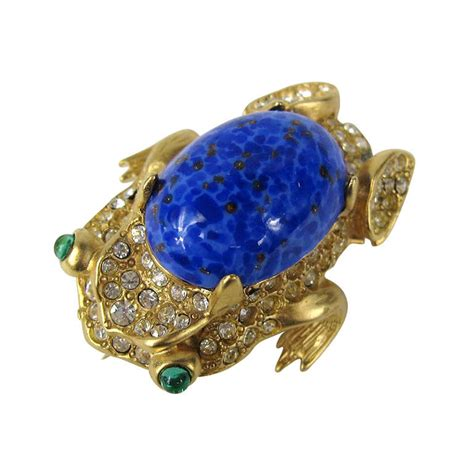 Jeweled Magnificence Kenneth by Kenneth Gold Gilt Lapis Blue Cabochon Frog Brooch