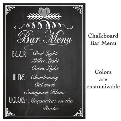 Wedding Menu Font Free by Wedding Sign Drink Bar Menu Chalkboard Rustic Sign