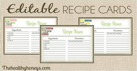 mixed drink recipe cards template for word real food recipe cards diy editable the healthy honeys