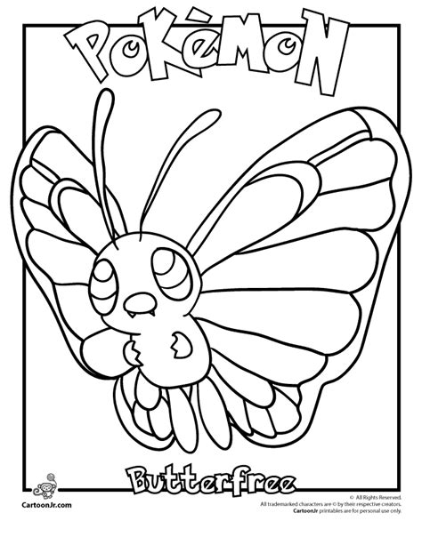 pokemon coloring pages butterfree butterfree pokemon coloring page woo jr kids activities