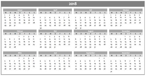 Kalender 2018 Jahreskalender Jahreskalender 2018 Als Excelvorlage Und Pdf Excel