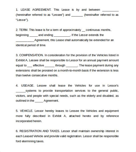truck lease agreement template vehicle lease agreement templates 7 free
