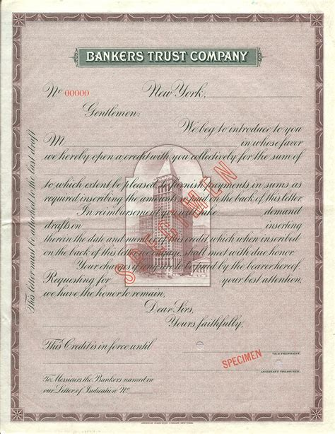Traveler Credit Letter Bankers Trust Co Letter Of Credit Specimen General