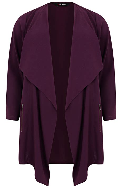 Dpurple Coat Blazer Ungu Korea Jaket purple crepe longline waterfall jacket plus size 16 to 32