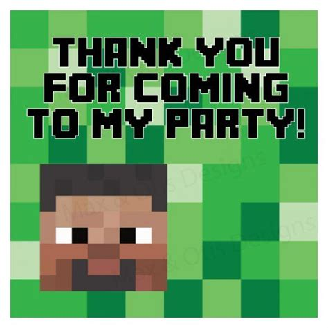 minecraft thank you card template free printable minecraft gift bags templates