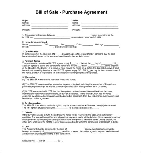 Sle Horse Bill Of Sale Forms 7 Free Documents In Pdf Word Right Of Refusal Contract Template
