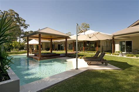 splashy hardtop gazebo method sunshine coast modern pool