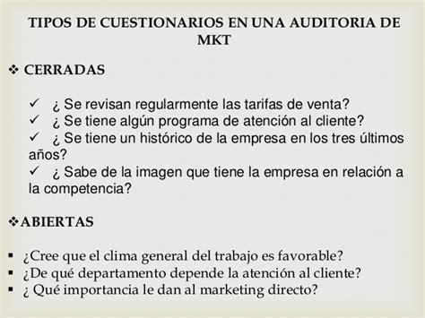 preguntas cerradas marketing auditoria de marketing