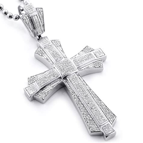 large sterling silver mens cross pendant 1 14ct