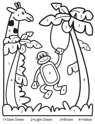 jungle coloring pages for preschoolers color by number download this printable jungle color by