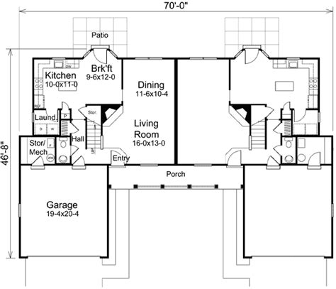 2 story duplex house plans traditional two story duplex 57158ha architectural