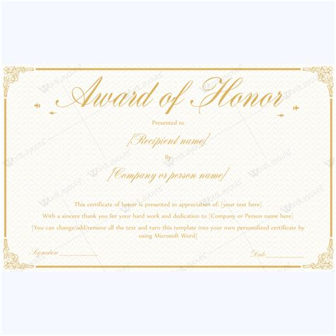 of honor card template 89 award certificates for business and school events