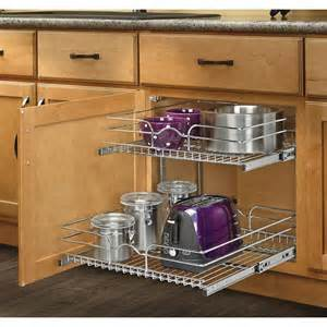 Kitchen Cabinets Organizer Rev A Shelf 20 75 In W X 22 06 In D X 19 In H 2 Tier Metal Pull Out Cabinet Basket Lowe S Canada