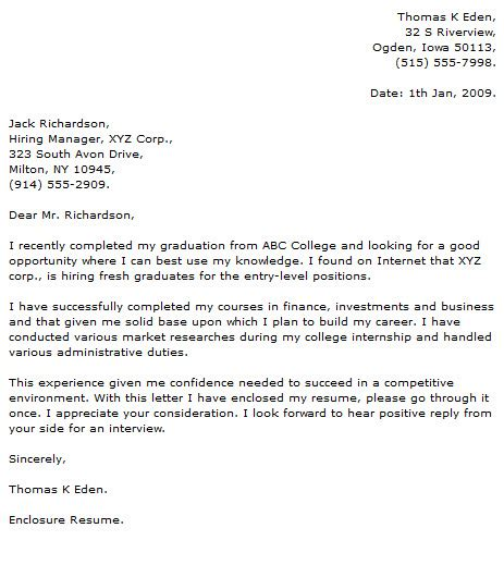 Graduate Cover Letter Examples   Cover Letter Now