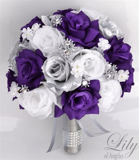17 package silk flower wedding bridal bouquets sets purple silver white ebay