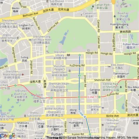 map  shenzhen china hotels accommodation