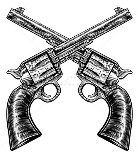 crossed pistol gun revolvers vintage woodcut style vector