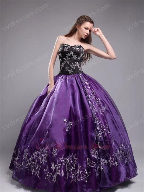 design quinceanera dress embroidered stars 2014 designer eggplant quinceanera dress