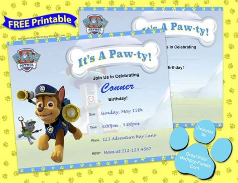 printable birthday invitations paw patrol 63 best images about paw patrol party on pinterest