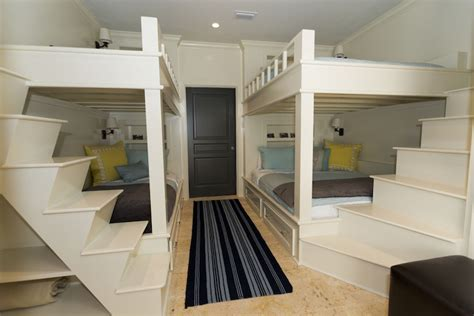 built in bunk beds cottage boy s room hickman design bunk bed steps cottage boy s room rice construction