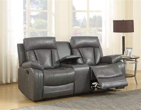kyson modern grey bonded leather reclining sofa loveseat