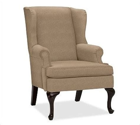 traditional armchairs gramercy upholstered wingback armchair washed linen cotton walnut traditional
