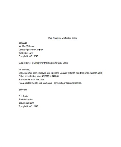 Employment Verification Letter Template Sle Employment Verification Letter From Previous Employer Cover Letter Templates
