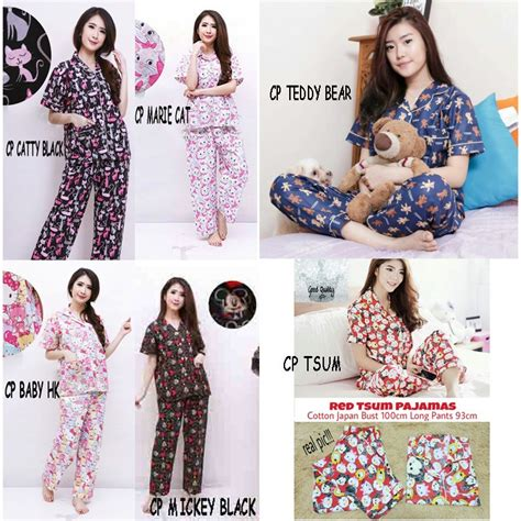 Pajamas Mickey Angkat Tangan piyama pajamas cp tsum tsum mickey catty elmo hk cat doraemon dewasa shopee indonesia