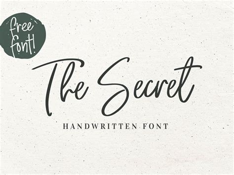 the secret free handwritten typeface wooskins