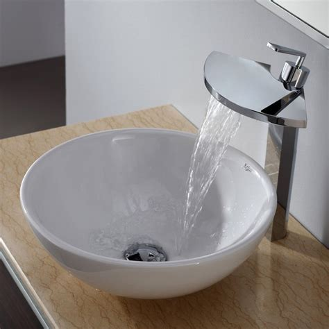 Kraus Bathroom Sinks by Kraus C Kcv 141 14800ch White Ceramic Sink And Fantasia Faucet Modern Bathroom Sinks