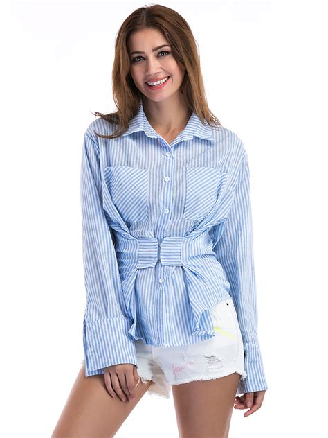 Sleeve Blouses With Pockets by Blue Striped Casual Sleeve Lapel Blouse With