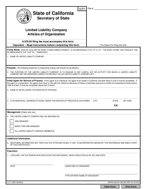 Llc Articles Of Organization Company Documents Articles Of Organization Oregon Template
