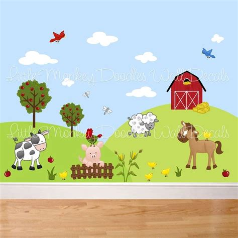 Farm Wall Mural fabric wall decals farm animal barnyard mural set girls