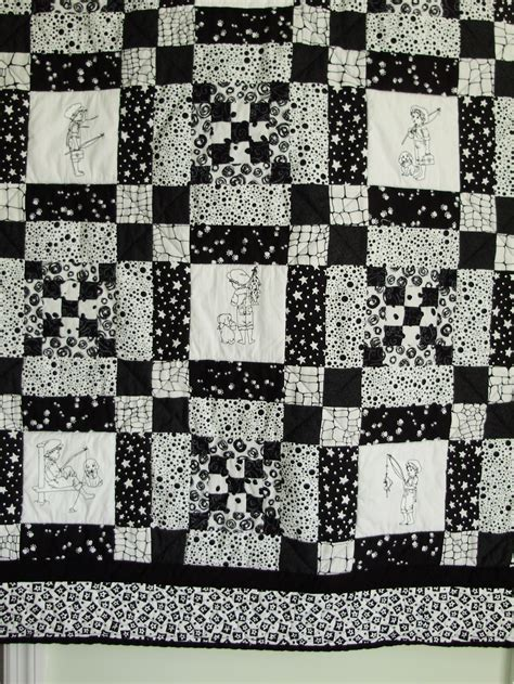 Black And White Patchwork Quilt - boys patchwork and embroidered black and white quilt fishing